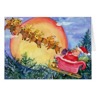 El cerdo de Santa entrega la tarjeta de Navidad de