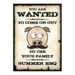 El cerdo del bigote del Bbq del verano quiso Invitación Personalizada