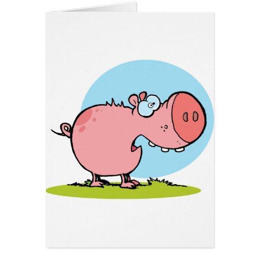El cerdo del personaje de dibujos animados parece  felicitacion