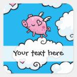 El cerdo del vuelo baila en el pegatina adaptable
