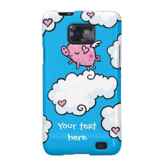 El cerdo del vuelo baila en las nubes samsung galaxy SII funda