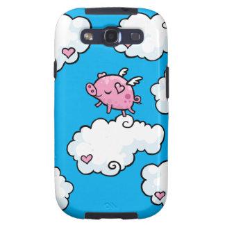El cerdo del vuelo baila en las nubes samsung galaxy s3 carcasas
