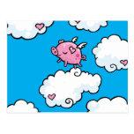 El cerdo del vuelo baila en las nubes postal