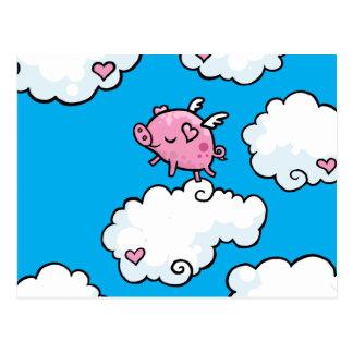 El cerdo del vuelo baila en las nubes tarjetas postales