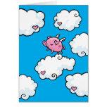 El cerdo del vuelo baila en las nubes tarjetas