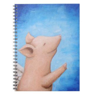El cerdo del vuelo cuando el cerdo vuela el cerdo libreta espiral