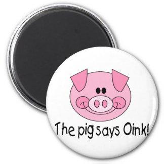 El cerdo dice Oink Imán Redondo 5 Cm