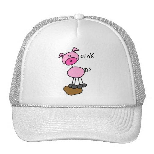 El cerdo dice Oink las camisetas y los regalos Gorro De Camionero