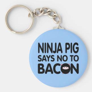 El cerdo divertido de Ninja dice no al tocino Llavero Redondo Tipo Pin