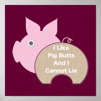 El cerdo empalma el poster (rosado)