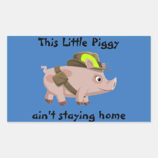 El cerdo este pequeño guarro no es hogar del pegatina rectangular