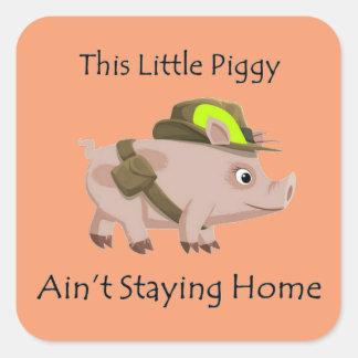 El cerdo este pequeño guarro no está permaneciendo pegatina cuadrada