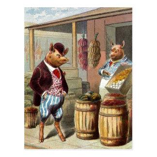El cerdo fue a comercializar tarjeta postal