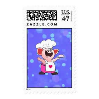 El cerdo lindo del dibujo animado del cocinero el sello postal