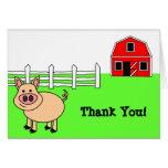 El cerdo lindo del dibujo animado le agradece card felicitaciones