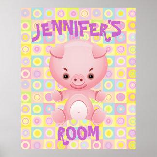 El cerdo rosado lindo embroma el poster