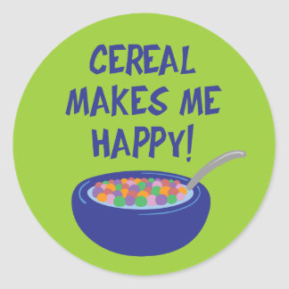 El cereal me hace feliz pegatina redonda