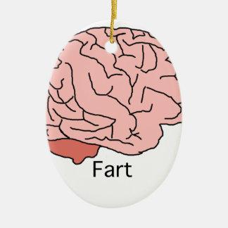 El cerebro Fart Adorno Navideño Ovalado De Cerámica