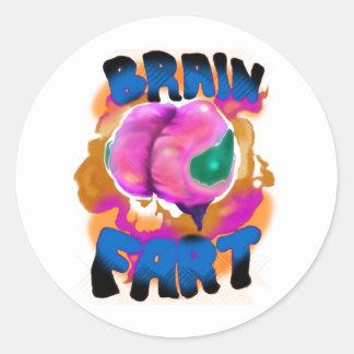 El cerebro Fart Pegatina Redonda