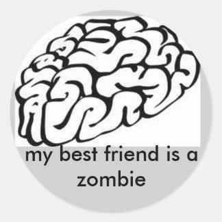 el cerebro, mi mejor amigo es un zombi pegatina redonda