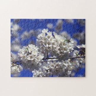 El cerezo blanco florece las flores puzzle con fotos