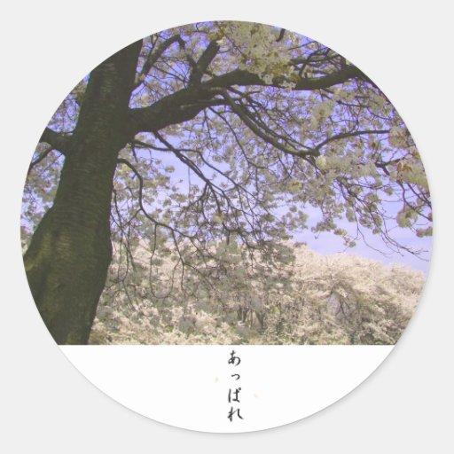 El cerezo en Japón 2 Pegatina Redonda