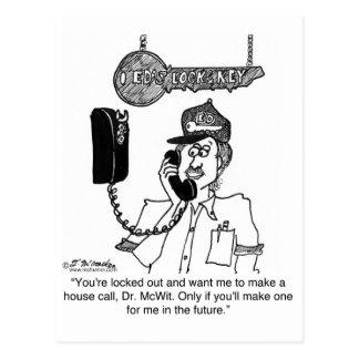 El cerrajero no hará una visita a domicilio tarjeta postal