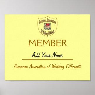El certificado AAWO de la calidad de miembro, corr Póster