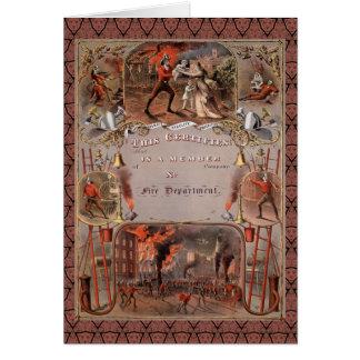 El certificado del bombero del vintage tarjeta de felicitación