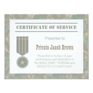 El certificado del ejército de servicio le invitación 10,8 x 13,9 cm
