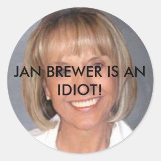 El cervecero de enero es un idiota pegatina redonda