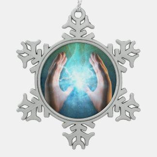 El chakra de la yogui del zen de la yoga cura paz adorno de peltre en forma de copo de nieve