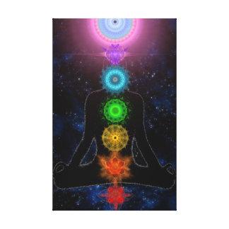 El Chakras - con las estrellas y la meditación Lona Estirada Galerías