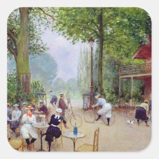 El chalet du Cycle en el Bois de Boulogne Pegatina Cuadrada