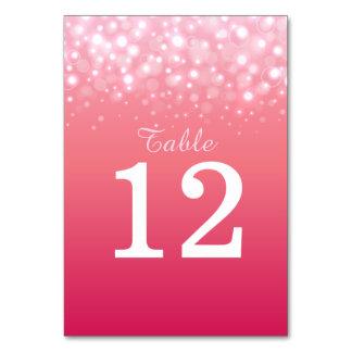 El champán rosado burbujea los números de la tabla