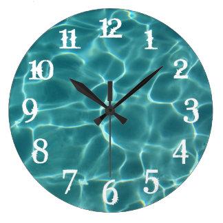 El chapoteo blanco numera el reloj de pared de la