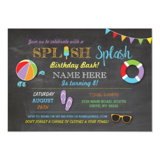 """El chapoteo de Splish del cumpleaños de la Invitación 5"""" X 7"""""""