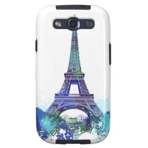 El chapoteo del color de la torre Eiffel Galaxy S3 Carcasas