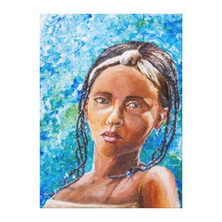 El chica africano lona estirada galerias