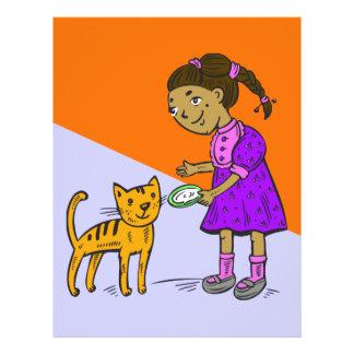 """El chica alimenta el gato folleto 8.5"""" x 11"""""""