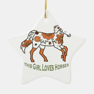 El chica ama caballos adorno navideño de cerámica en forma de estrella