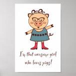 El chica ama el poster de los cerdos