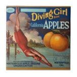 El chica Apple del salto del vintage del KRW da Azulejo Cuadrado Pequeño