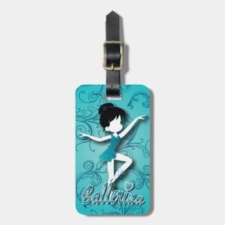 El chica azul lindo adorable de la bailarina el | etiqueta de equipaje
