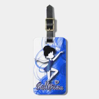 El chica azul lindo adorable de la bailarina el | etiquetas para equipaje