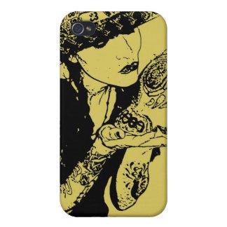el chica besa el caso del iphone del cráneo iPhone 4 carcasa