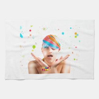 El chica colorido toallas de mano