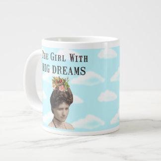 El chica con collage grande de la foto del vintage taza de café grande
