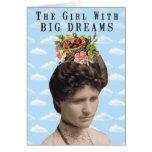 El chica con collage grande de los sueños (y pelo  tarjeton