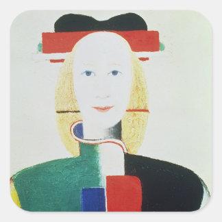 El chica con el gorra colcomanias cuadradas personalizadas